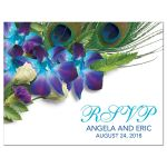 Peacock feather and blue Dendrobium orchid bouquet and wedding RSVP postcard front