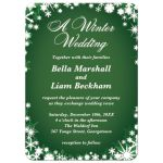Green Winter Wedding Invitations with Snowflakes