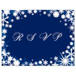 Blue Winter Wedding RSVP with Snowflakes