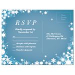 Light Blue Winter Wedding RSVP with Snowflakes