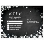 Chalkboard Winter Wedding RSVP with Snowflakes