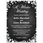 Chalkboard Winter Wedding Invitation with Snowflakes
