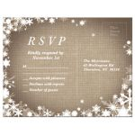 Burlap Winter Wedding RSVP Postcard with Snowflakes