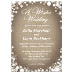 Burlap Winter Wedding Invitation with Snowflakes