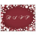 Red Winter Wedding RSVP Postcard with Snowflakes