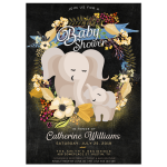 Cute elephants boho flowers baby shower invitation