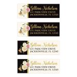 Personalized address labels in bold black, ivory and simulated gold foil have vintage floral rose bouquets in cream, pink, and yellow with an orange lily and green leaves.