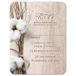 Trendy rustic cotton wedding RSVP card with twigs wrapped in ribbon and woodgrain wood background front