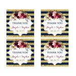 Navy blue, gold, burgundy wine, white striped wedding favor thank you sticker with watercolor flowers and garland.