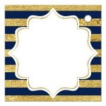 Navy blue, gold, burgundy wine, white striped wedding favor thank you tag with pre-drilled hole, watercolor flowers and garland.