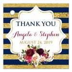 Personalized navy blue, gold, burgundy wine, white striped wedding favor thank you tag with pre-drilled hole, watercolor flowers and garland.