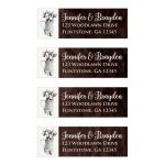 Rustic brown and white watercolor cotton stems and branches wedding return address mailing labels with brown wood.