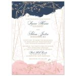 Navy blue, blush pink, white watercolor floral wedding invitation with rose gold geometric shape and gold dust sprinkles.