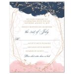​Navy blue, blush pink, white watercolor floral wedding RSVP enclosure card insert with rose gold geometric shape and gold dust sprinkles.