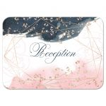 ​Navy blue, blush pink, white watercolor floral wedding reception enclosure card insert with rose gold geometric shape and gold dust sprinkles.