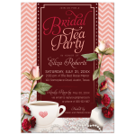 Pink Chevron Tea Party Bridal Shower Invitation