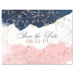 ​Navy blue, blush pink, white geometric shape watercolor floral wedding save the date card with rose gold dust sprinkles.