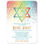 Cascading pixels rainbow Bat Mitzvah invitation with rainbow Star of David