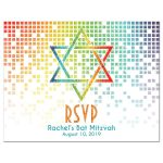 ​Cascading pixels rainbow Bat Mitzvah RSVP postcard with rainbow Star of David front