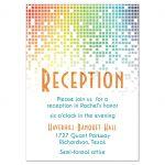 Cascading pixels rainbow Bat Mitzvah reception insert card