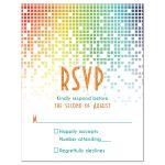 Cascading pixels rainbow Bat Mitzvah RSVP card