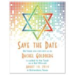 ​Cascading pixels rainbow Bat Mitzvah save the date card with rainbow Star of David