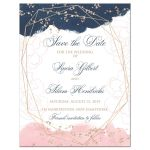 ​Indigo navy blue, blush pink, white geometric shape watercolor floral photo template wedding save the date card with rose gold dust sprinkles.