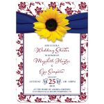 Beautiful burgundy, navy blue, and yellow sunflower couple wedding shower invitation front