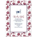 Beautiful burgundy, navy blue, and yellow sunflower couple wedding shower invitation back