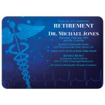 Medical doctor retirement party invitation in various shades of blue with caduceus symbol
