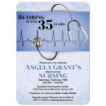 ​Medical doctor nurse retirement party invitation in scrubs blue with stethoscope and heart monitor graphic