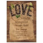 ​Love is brewing coffee themed wedding invitation with coffee beans, kraft paper, and rustic wood background front