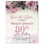 ​Vintage pink, grey (gray), and ivory rose illustration 80th birthday party save the date announcement front