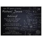Simple black and white chalkboard professor teacher retirement party invitation