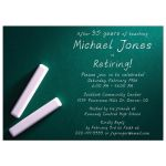 Simple green and white chalkboard and chalk professor teacher retirement party invitation