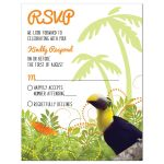 Tropical jungle themed Bat Mitzvah RSVP card with toucan and butterfly