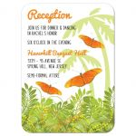 Tropical jungle themed Bat Mitzvah reception card with butterflies