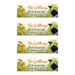 Tropical jungle themed Bat Mitzvah address labels with toucan and butterflies