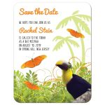 ​Tropical jungle themed Bat Mitzvah save the date with toucan and butterflies