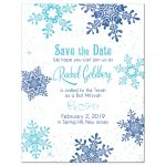 ​Turquoise and royal blue snowflake frozen winter wonderland Bat Mitzvah save the date announcement front