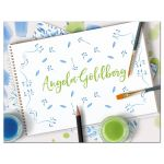 ​Unique artist or art themed personalized flat Bat Mitzvah thank you card front