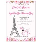 Paris Poodle Eiffel Tower France Watercolor Bridal Shower Invitation