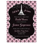 Paris themed bridals shower, wedding shower, or couples shower invitation in pink, black, and white with Eiffel Tower, fleur-de-lis, polka dots and French phrases.