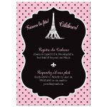 Paris themed bridals shower, wedding shower, or couples shower invite in pink, black, and white with Eiffel Tower, fleur-de-lis, polka dots and French phrases.