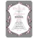 Pink, black, white Paris Parisian Eiffel Tower bridal shower invitation with bold stripes and florals front