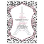 Pink, black, white Paris Parisian Eiffel Tower bridal shower invitation with bold stripes and florals back