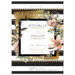 Modern Chic Wedding Gold Black White Stripe Invitation