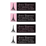 Eiffel Tower or Paris themed return address mailing labels in pink, black, and white.
