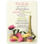 Unique Parisian Paris bridal shower invitation with macaron cookies, Eiffel Tower, and peony flowers