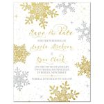 Elegant gold and silver snowflake winter wedding save the date front